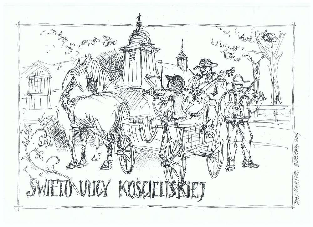 Swieto Ulicy Kościeliskiej - rysunek Jana Karpiela-Bułecki