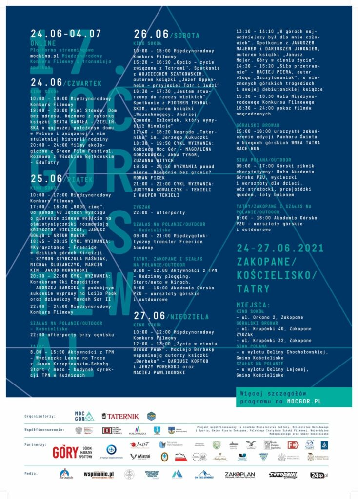 Program Festiwalu Moc Gór Zakopane-Kościelisko 2021